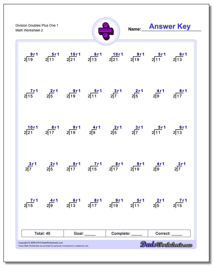 Division Worksheet Doubles Plus One 1 www.dadsworksheets.com/worksheets/division.html