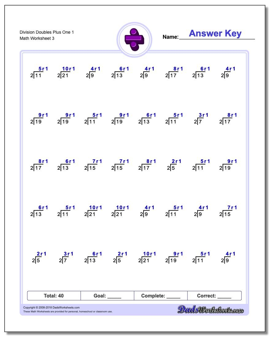 Division Worksheet Doubles Plus One 1