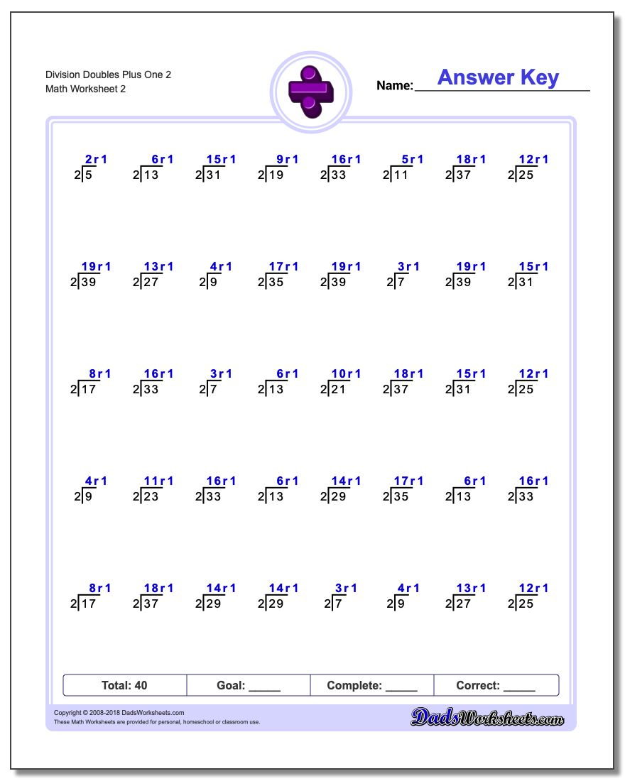 Division Worksheet Doubles Plus One 2 www.dadsworksheets.com/worksheets/division.html