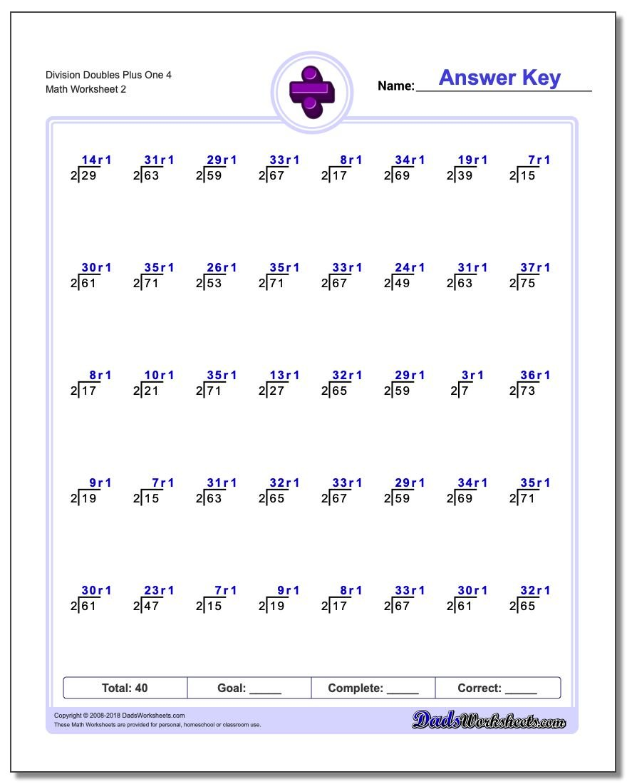 Division Worksheet Doubles Plus One 4 #Division #Worksheet