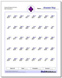 Division Worksheet Doubles Plus One 4 #Division #Worksheet