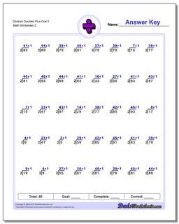 Division Worksheet Doubles Plus One 5 #Division #Worksheet
