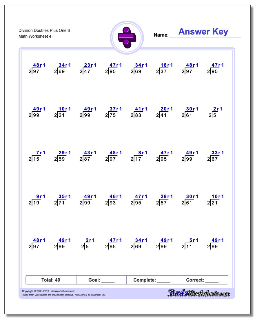 Division Worksheet Doubles Plus One 6 #Division #Worksheet