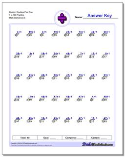 Division Worksheet Doubles Plus One 1 to 100 Practice #Division #Worksheet