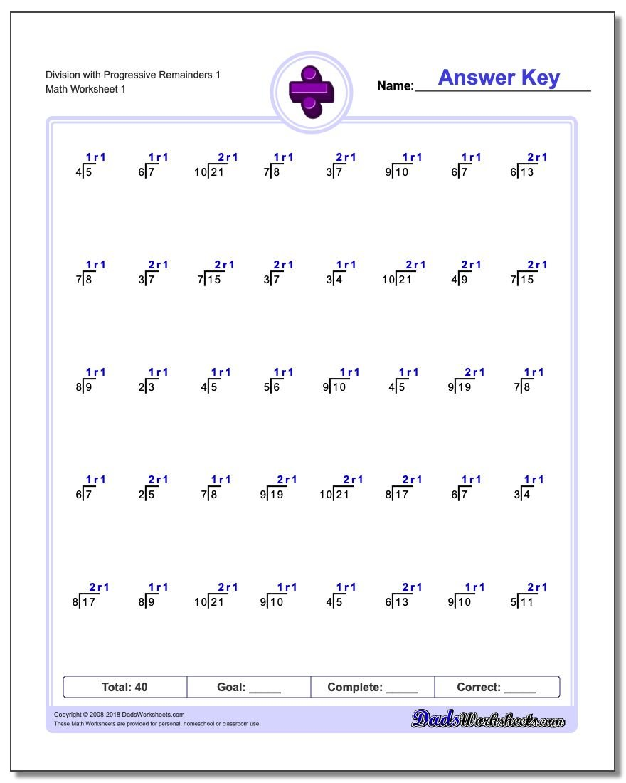 Worksheets – Division with Remainders Worksheet