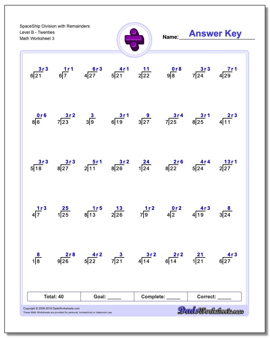 SpaceShip Division Worksheet with Remainders Level BTwenties