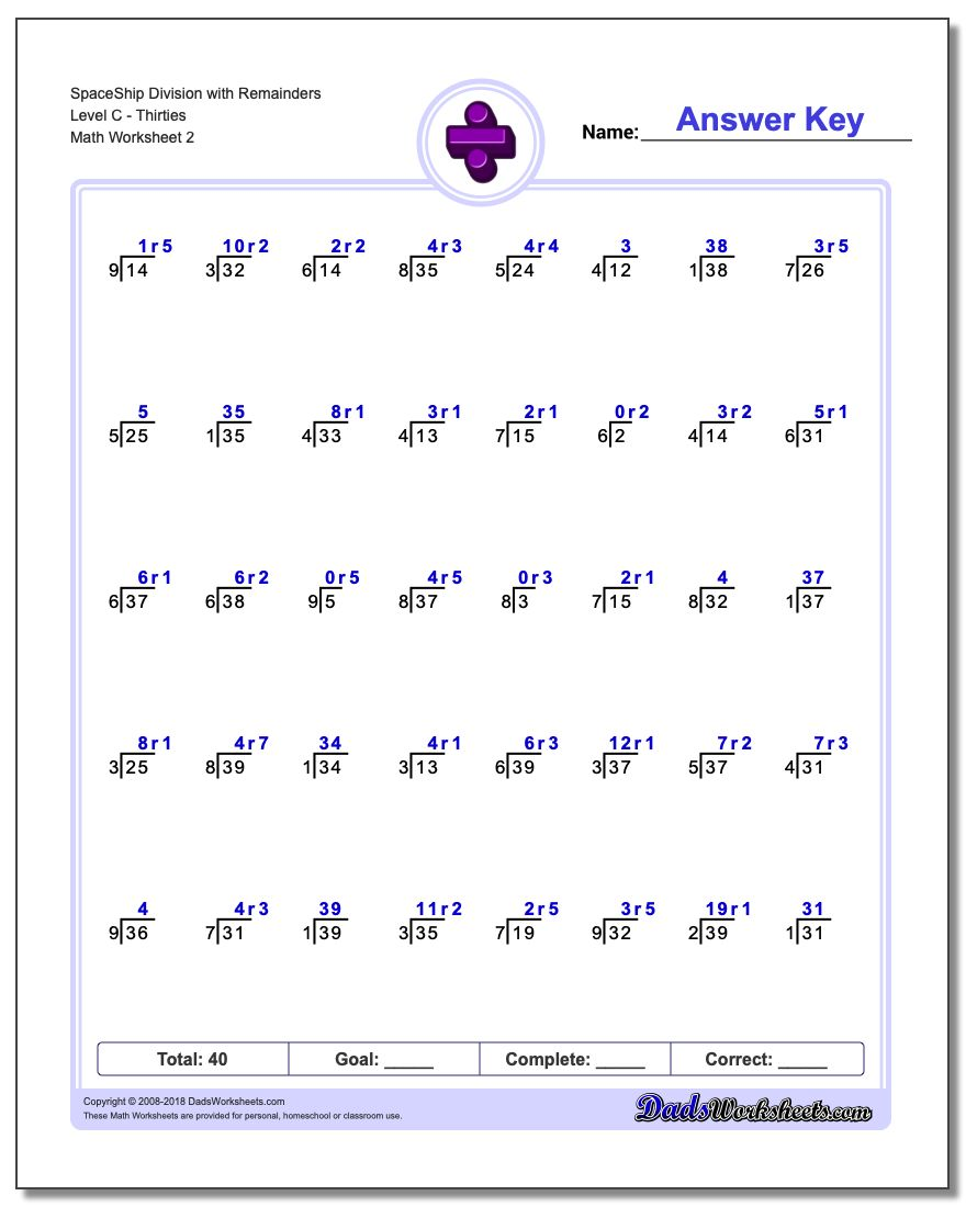 SpaceShip Division Worksheet with Remainders Level CThirties www.dadsworksheets.com/worksheets/division.html