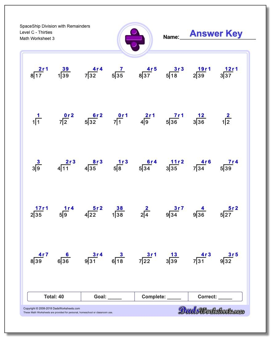 SpaceShip Division Worksheet with Remainders Level CThirties