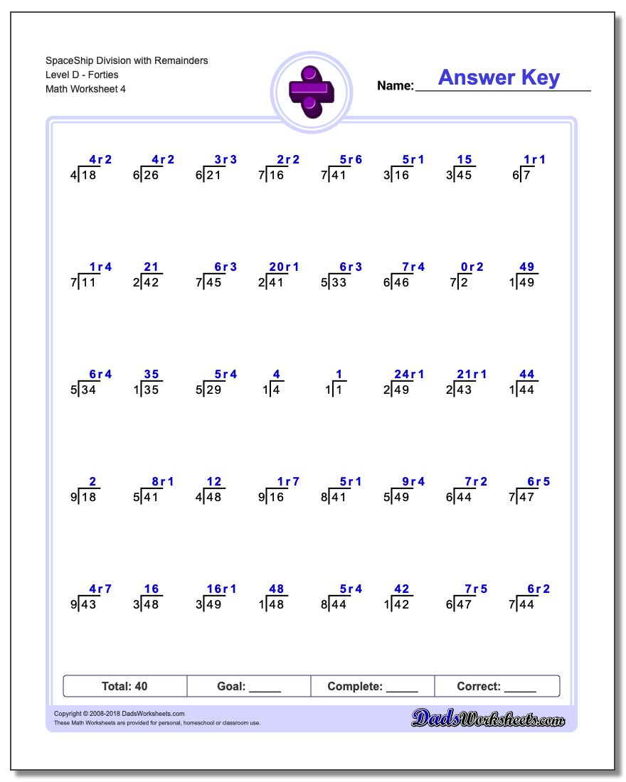 SpaceShip Division Worksheet with Remainders Level DForties