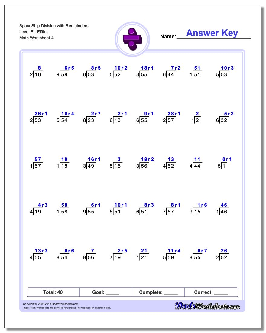 SpaceShip Division Worksheet with Remainders Level EFifties