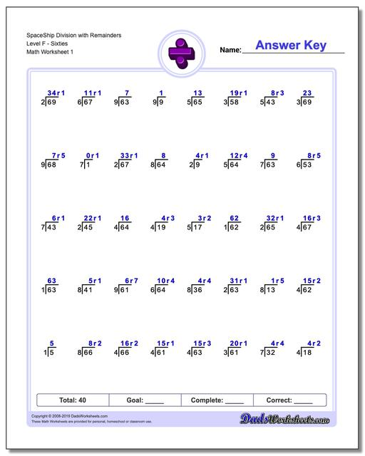 Division Worksheets SpaceShip with Remainders Level FSixties