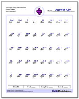 Division Worksheet SpaceShip with Remainders Level FSixties