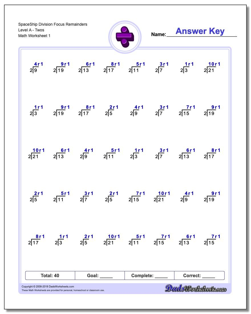 Division Worksheets – Math Worksheets Division with Remainders