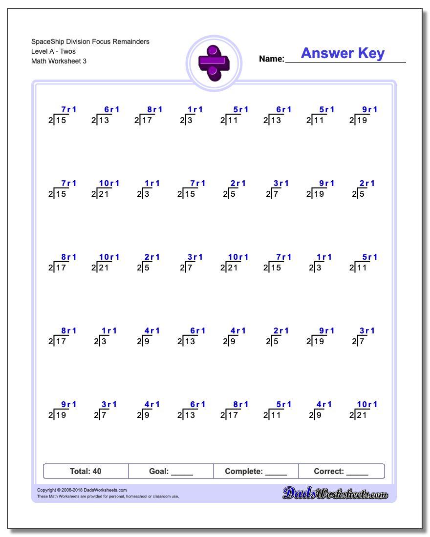 SpaceShip Division Worksheet Focus Remainders Level ATwos