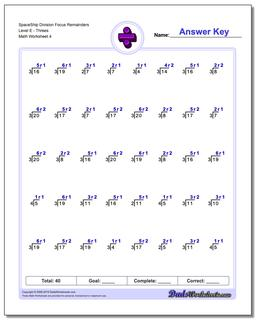 SpaceShip Division Worksheet Focus Remainders Level EThrees #Division #Worksheet