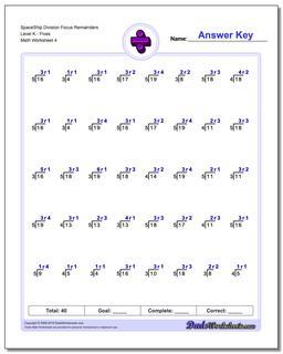 SpaceShip Division Worksheet Focus Remainders Level KFives #Division #Worksheet