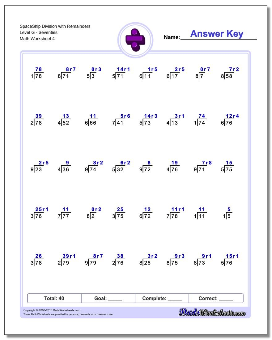 SpaceShip Division Worksheet with Remainders Level GSeventies
