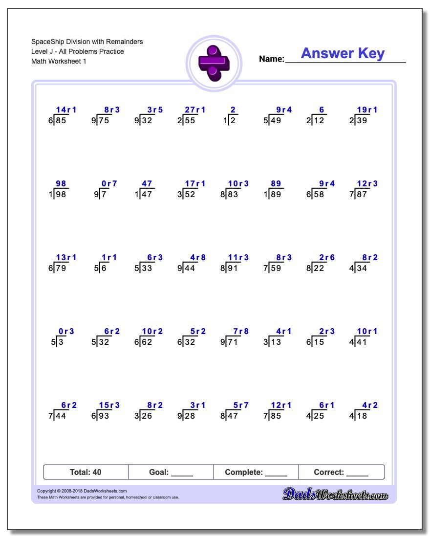 Division Worksheet SpaceShip with Remainders Level JAll Problems Practice