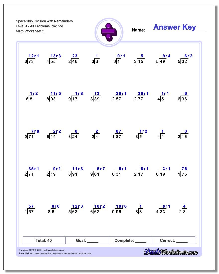 SpaceShip Division Worksheet with Remainders Level JAll Problems Worksheet Practice www.dadsworksheets.com/worksheets/division.html