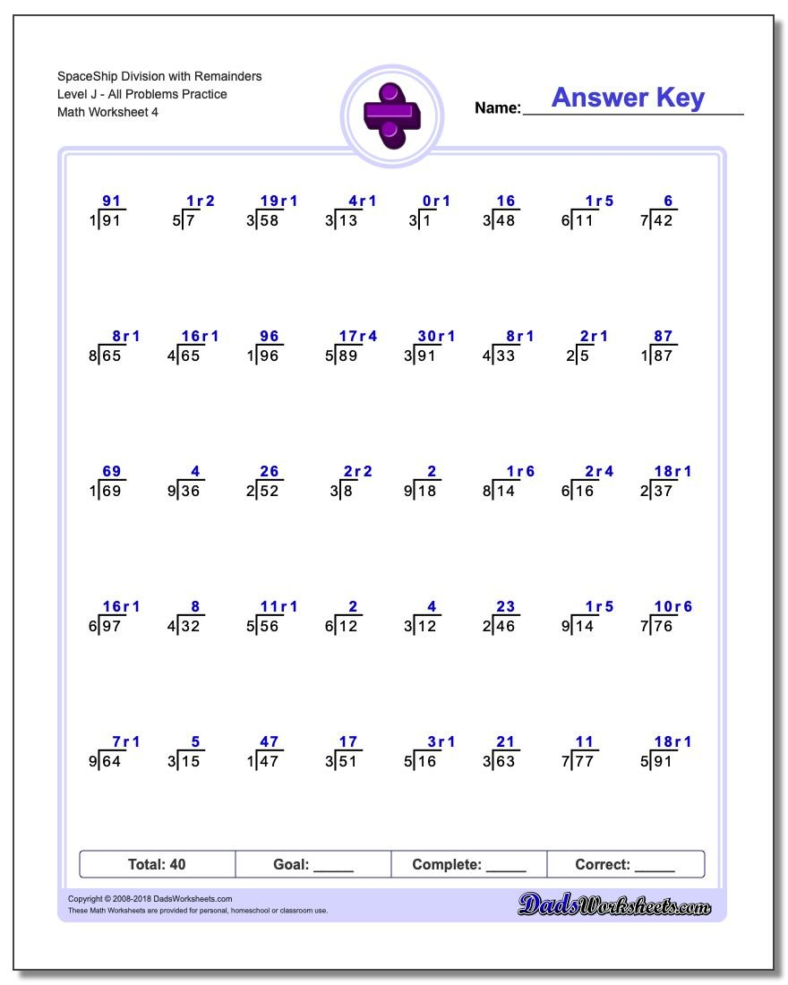 SpaceShip Division Worksheet with Remainders Level JAll Problems Worksheet Practice