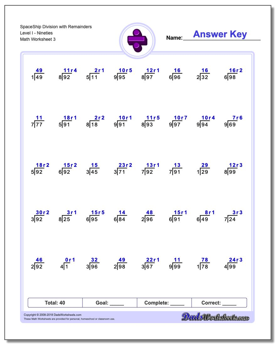 SpaceShip Division Worksheet with Remainders Level INineties