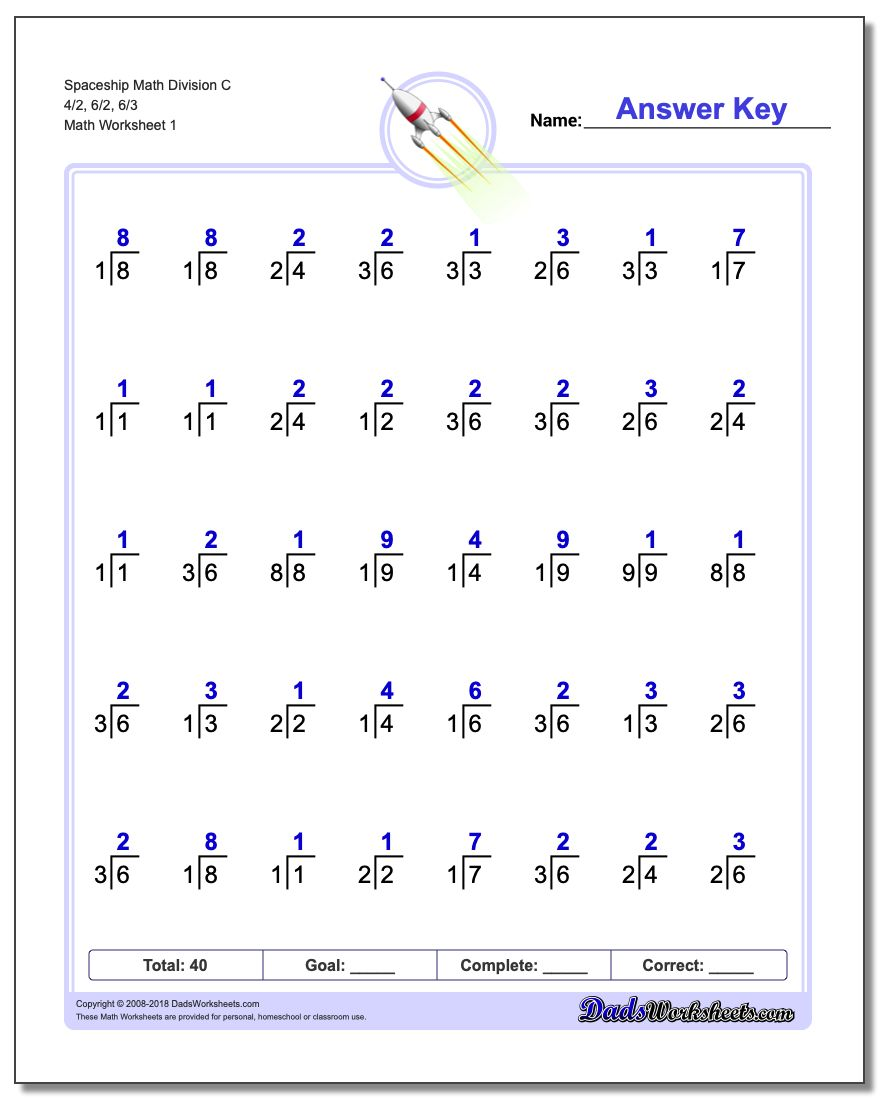 Division Worksheet Spaceship Math C 4/2, 6/2, 6/3
