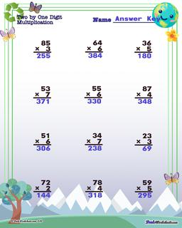 Earth Day Multiplication Worksheet