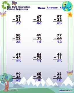 Earth Day Subtraction Worksheet