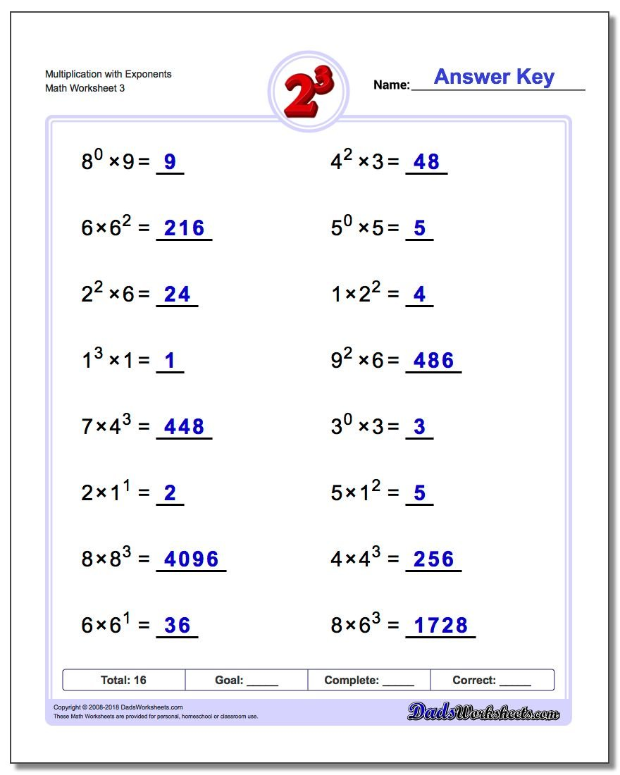 Multiplication Worksheet with Exponents