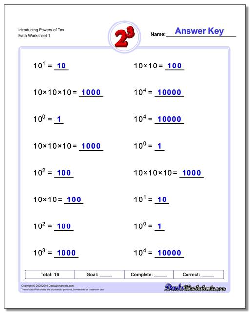 Introducing Powers of Ten Exponents Worksheets