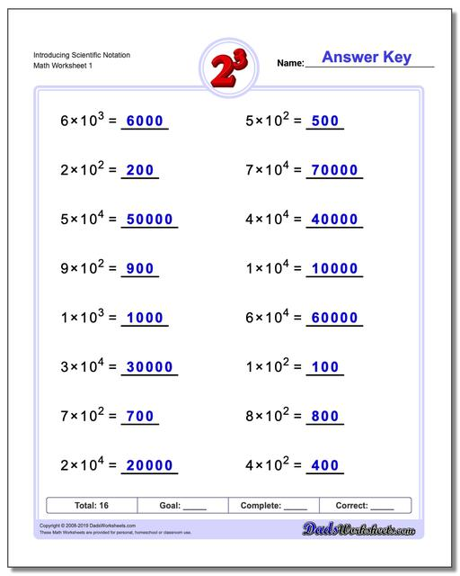 Introducing Scientific Notation Exponents Worksheets