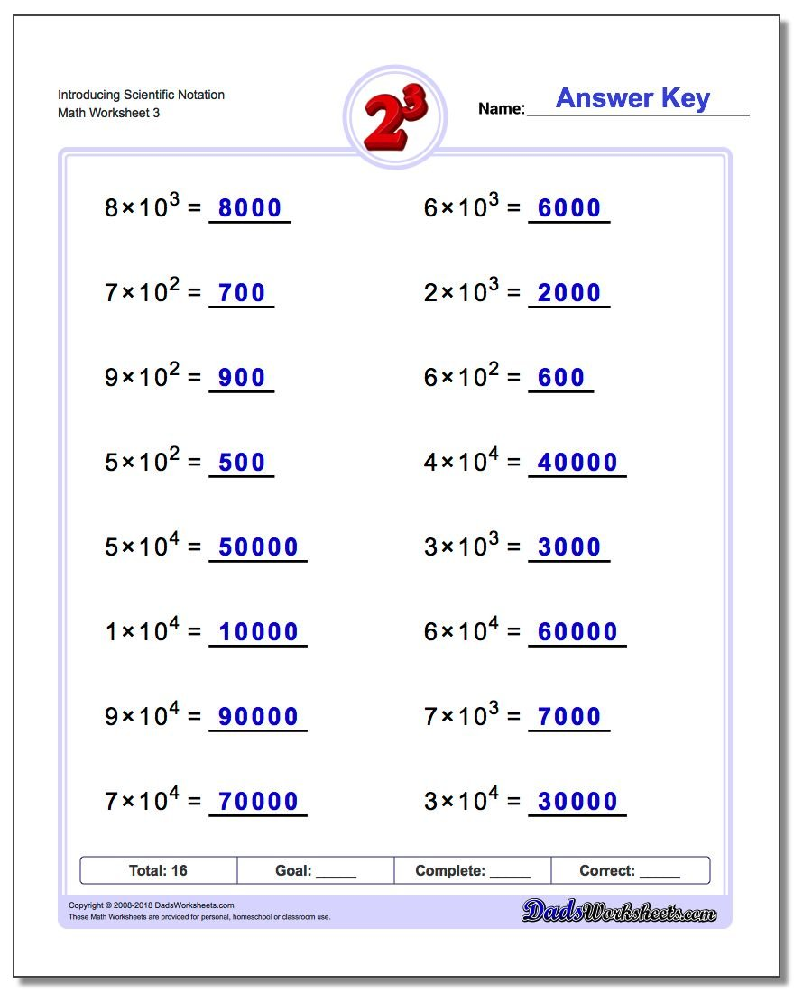 Introducing Scientific Notation Worksheet
