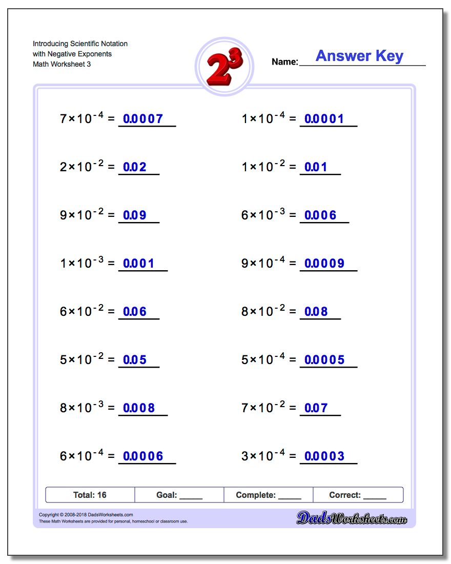 Introducing Scientific Notation with Negative Exponents Worksheet