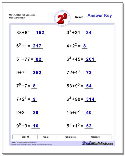 Exponents Worksheets More Addition with