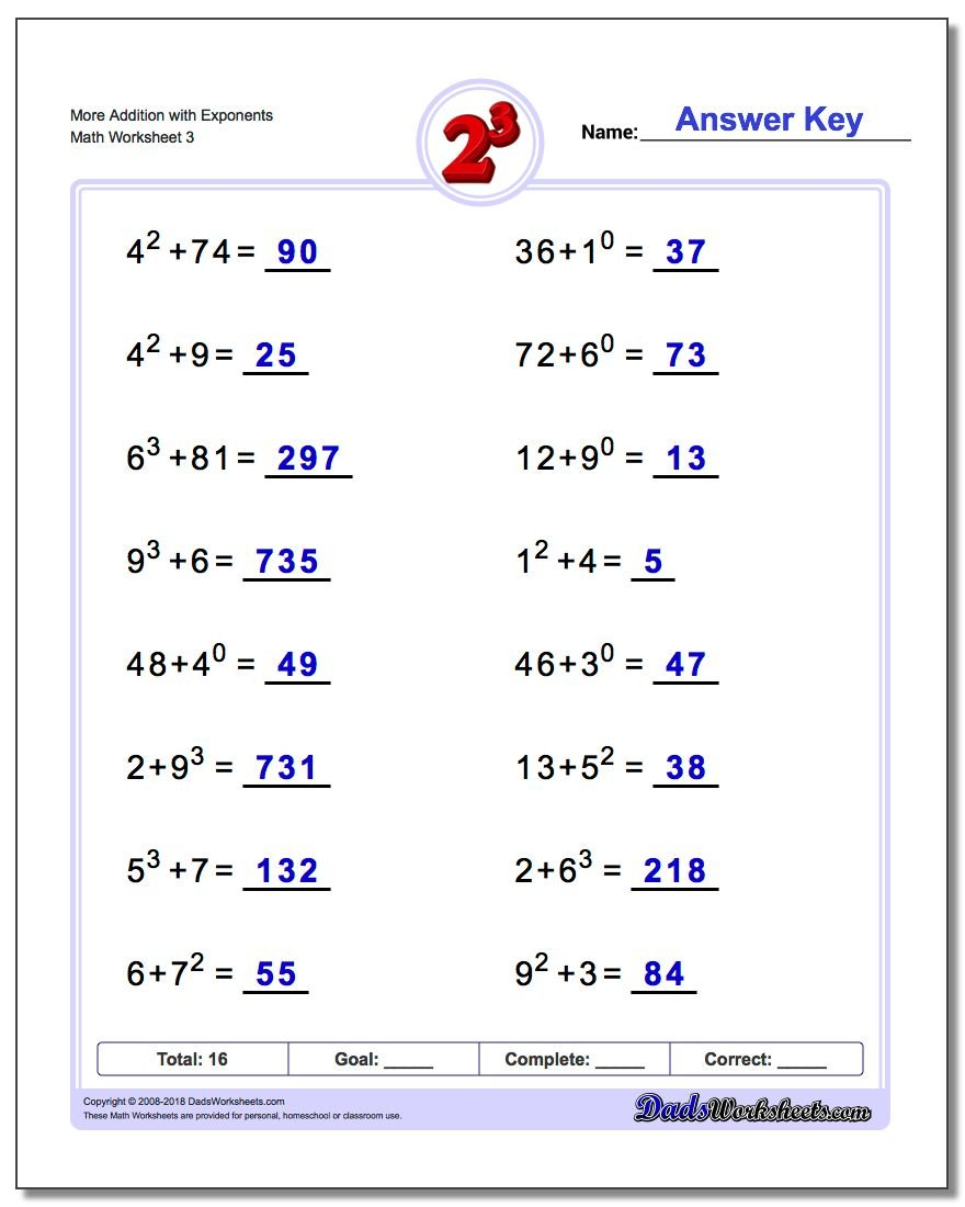 More Addition Worksheet with Exponents