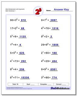 Exponents Worksheet More Multiplication with