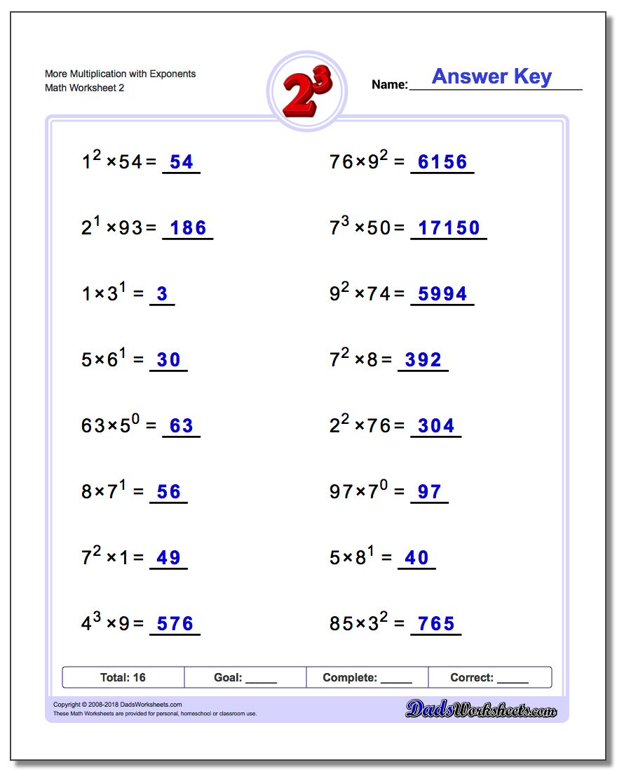 More Multiplication Worksheet with Exponents www.dadsworksheets.com/worksheets/exponents.html