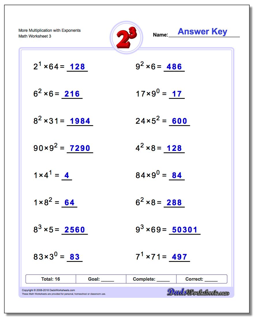 More Multiplication Worksheet with Exponents