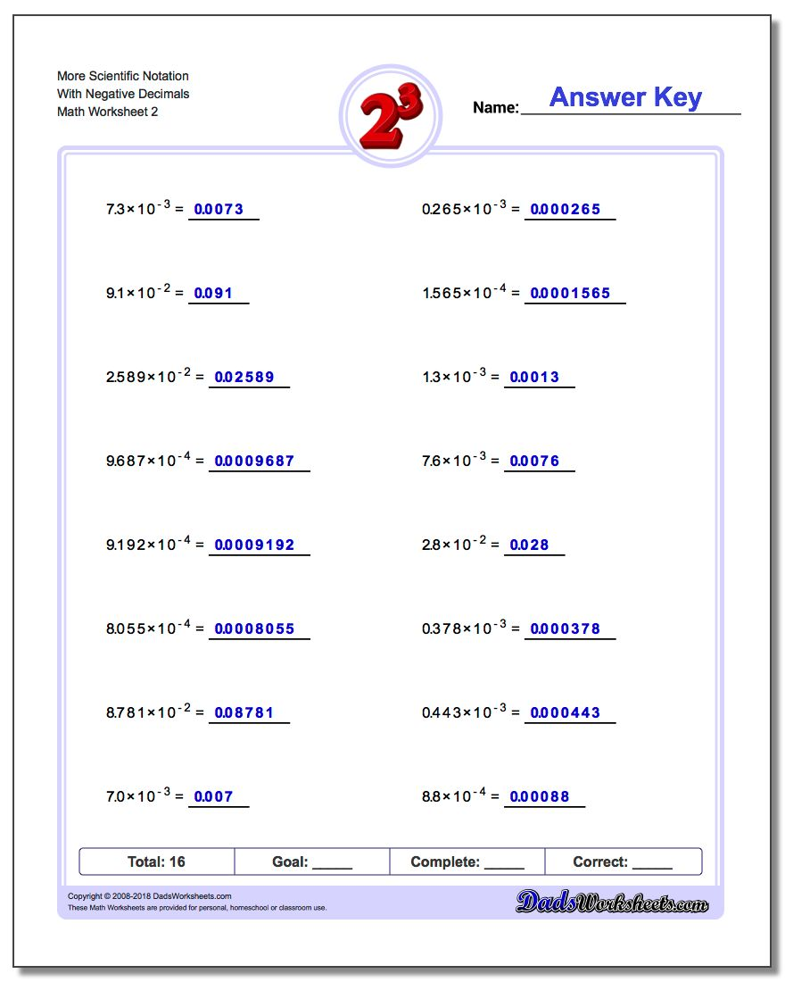 More Scientific Notation With Negative Decimals www.dadsworksheets.com/worksheets/exponents.html Worksheet
