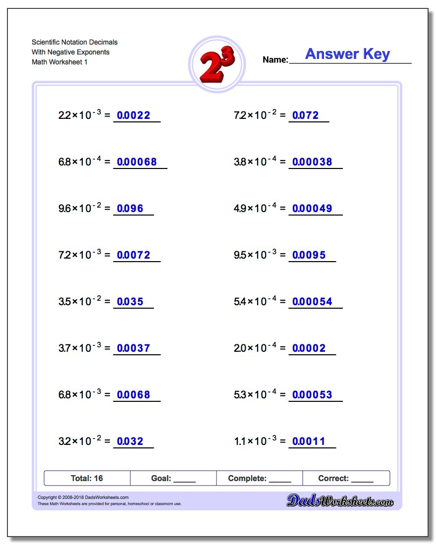 Uncategorized Scientific Notation Worksheet With Answers powers of ten and scientific notation exponents worksheet decimals with negative