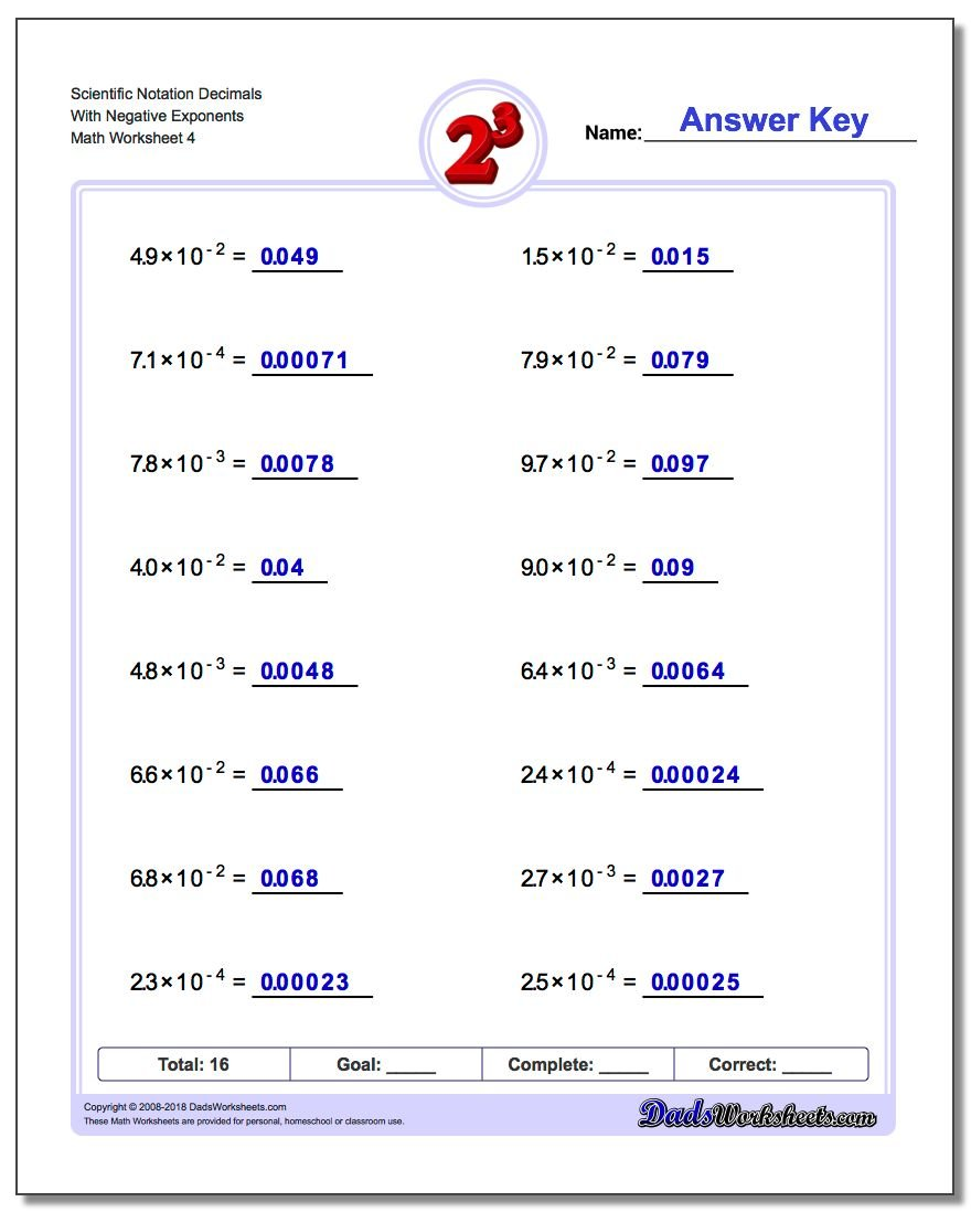 Scientific Notation Decimals With Negative Exponents Worksheet