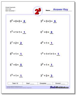 Exponents Worksheet Simple and Powers of Ten