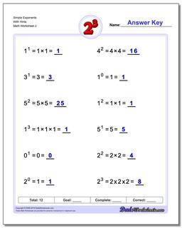 Simple Exponents With Hints www.dadsworksheets.com/worksheets/exponents.html Worksheet