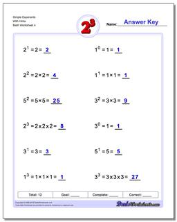 Simple Exponents With Hints Worksheet