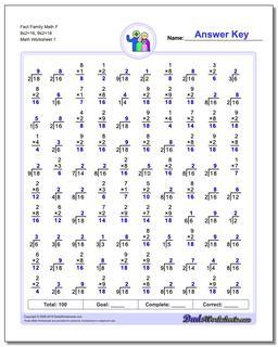 Fact Family Worksheet Math F 8x2=16, 9x2=18