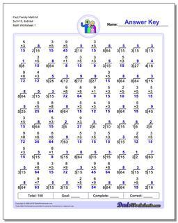 Fact Family Worksheet Math M 5x3=15, 8x8=64