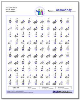 Fact Family Worksheet Math N 6x3=18, 9x9=81