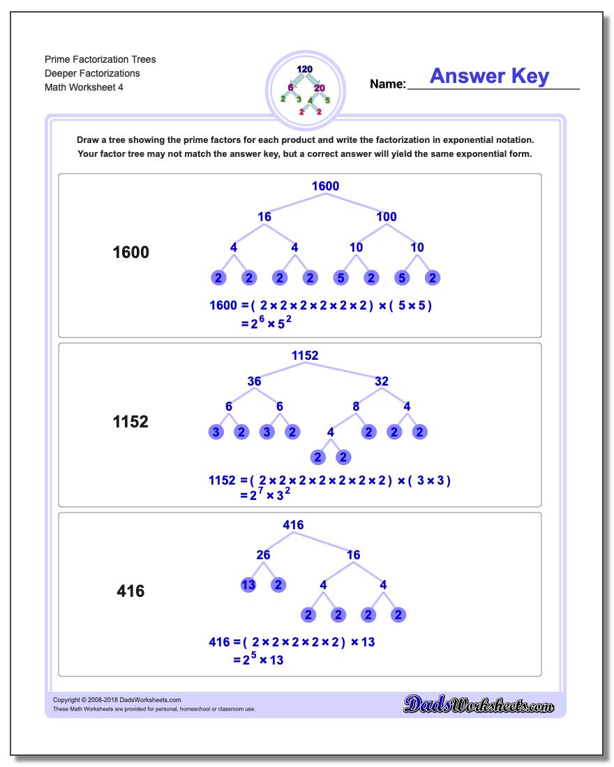 Prime Factorization Trees Deeper Factorizations Worksheet