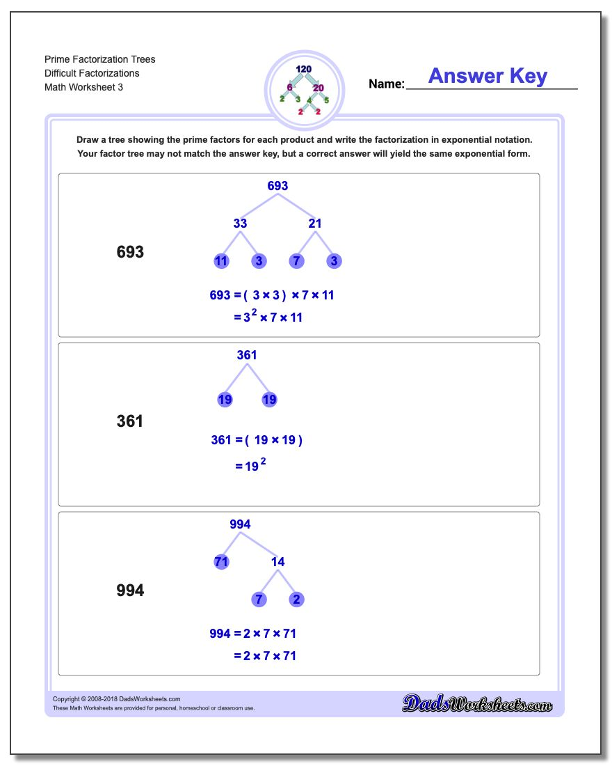 Prime Factorization Trees Difficult Factorizations Worksheet
