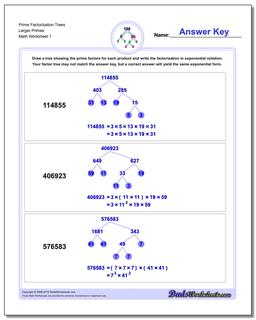 Factorization, GCD, LCM Prime Trees Larger Primes Worksheet